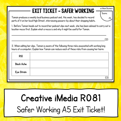 Creative iMedia Safer Working A5 Exit Ticket