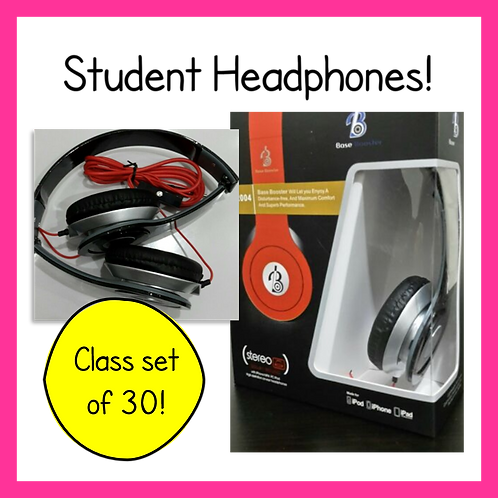 Base Booster Fold-able Black Headphones (Class Set of 30)