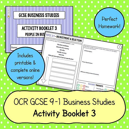 OCR GCSE Business Studies Activity Booklet 3 (People in Business)
