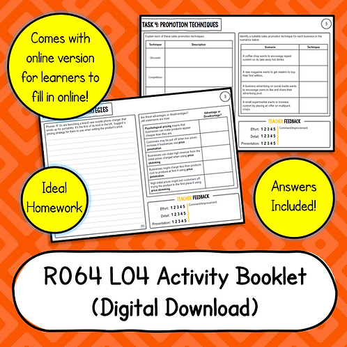 R064 LO4 Activity Booklet (Printable or Host/Complete Online)