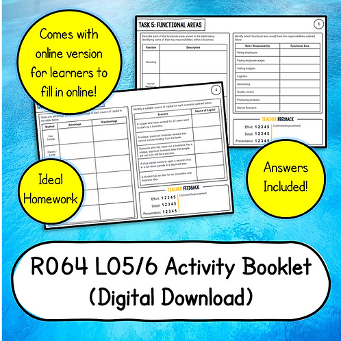 R064 LO5/6 Activity Booklet (Printable or Host/Complete Online)