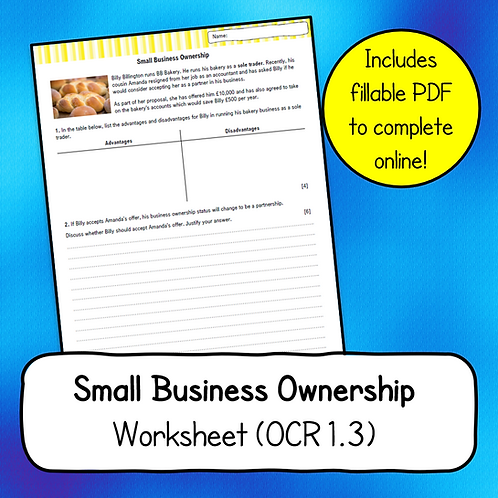 Topic 1.3 - Small Business Ownership Worksheet