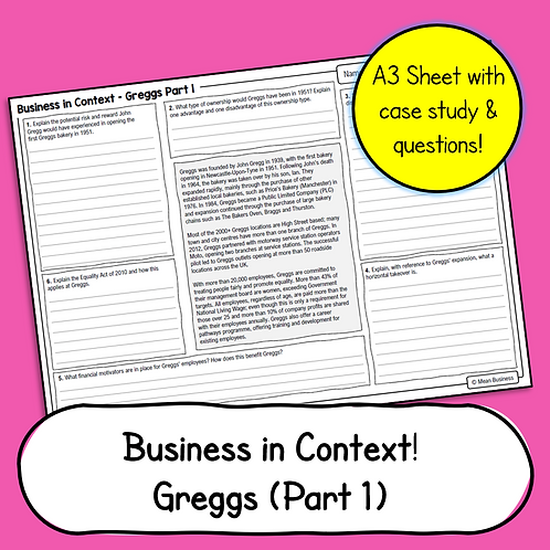 Business Case Study & Questions - Greggs Part 1 (OCR Business 1)