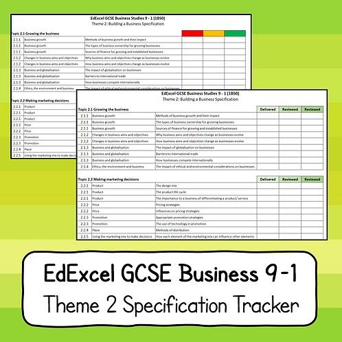 EdExcel GCSE Business Studies Theme 2 Specification Tracker