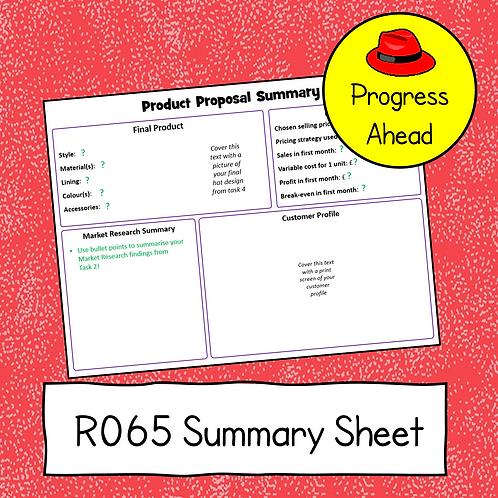 R065 to R066 Summary Sheet (Progress Ahead)