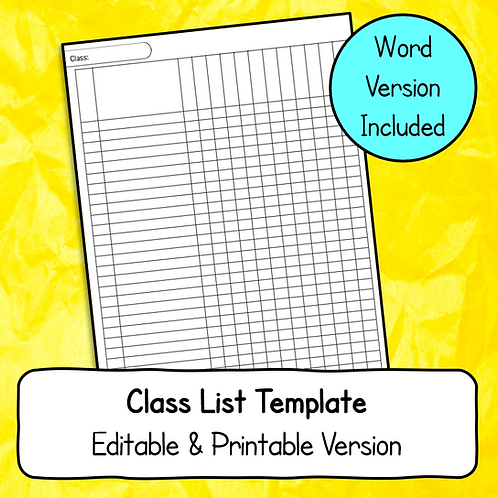 Class List Template (Printable / Editable Versions)