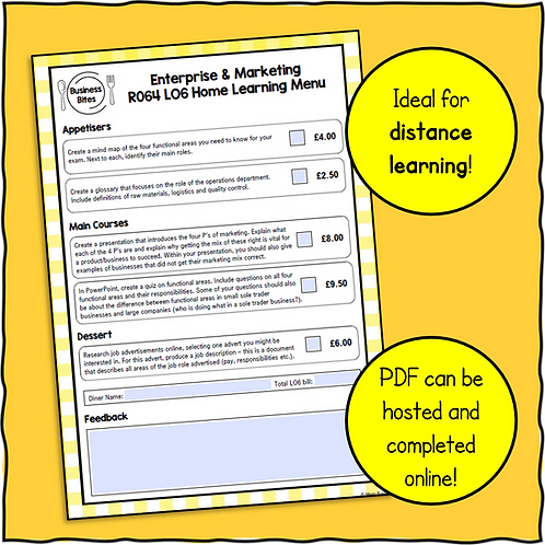 R064 LO6 Home Learning Menu!