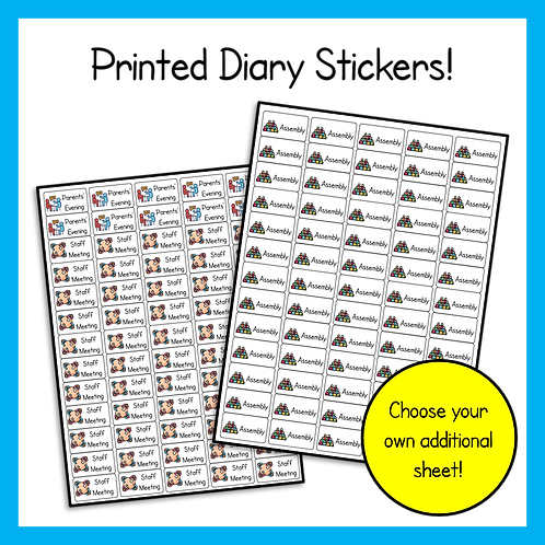 Printed Diary Stickers Pack (4 sticker sheets)