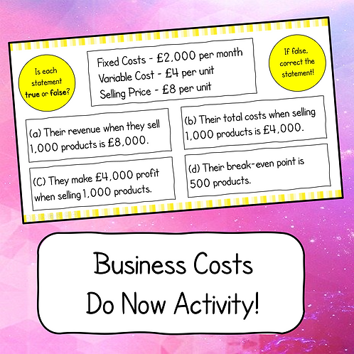 Business Costs Do Now Activity