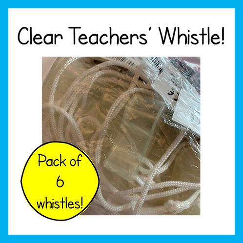 Clear teachers' whistle - 6 pack
