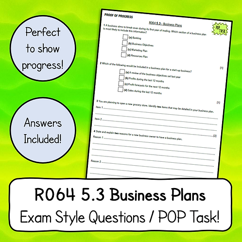 R064 5.3 - Business Plans Exam Style Questions