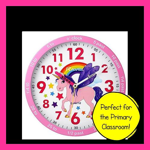 Pink Unicorn Teach the Time Wall Clock