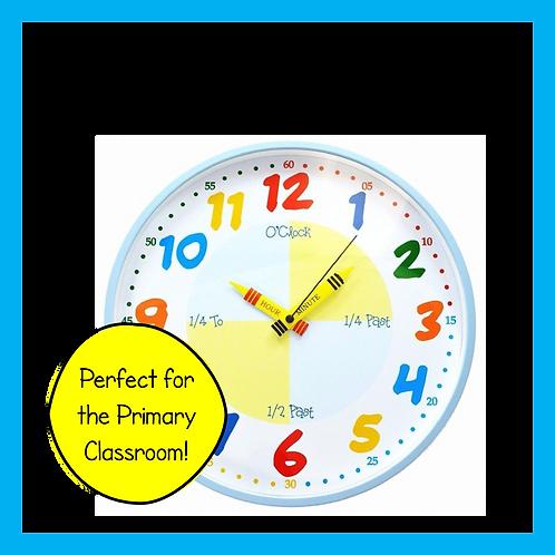 Teach the Time Classroom Wall Clock (Blue)