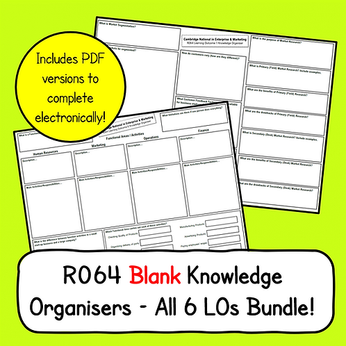 R064 Blank Knowledge Organisers Bundle (All LOs)