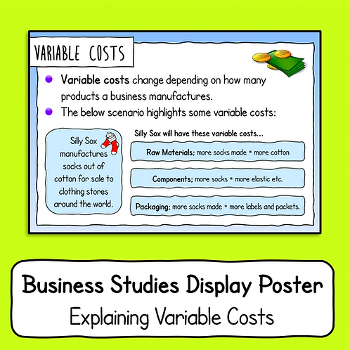 Explaining Variable Costs Poster / Handout