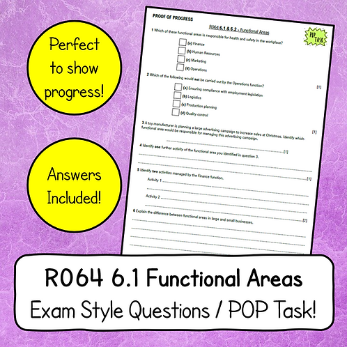 R064 LO6 Functional Areas Exam Style Questions