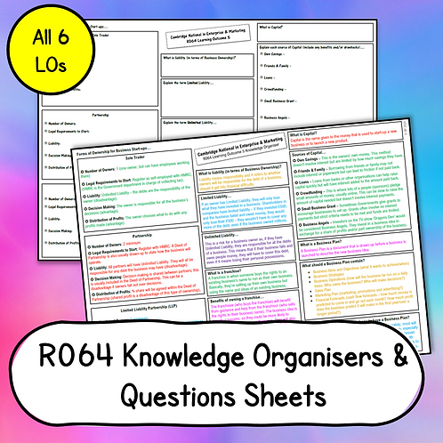 R064 Knowledge Organisers Full Set (Blank & Completed)