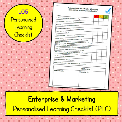 R064 LO5 Personalised Learning Checklist (PLC)