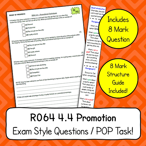 Promotional Techniques Exam Style Questions & 8 Mark Structure Strip