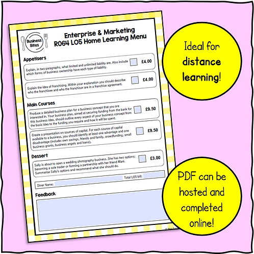 R064 LO5 Home Learning Menu!