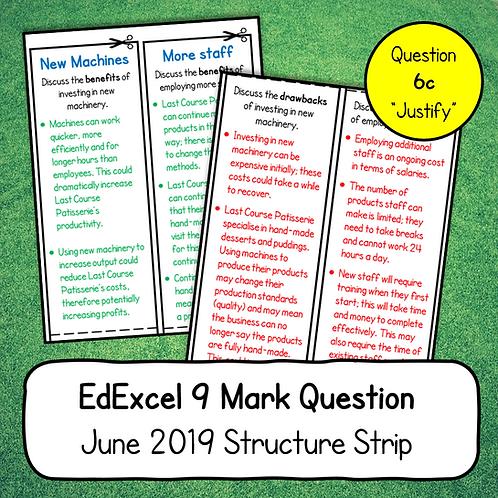 EdExcel 9 Mark Structure Strip (Business 1, June 2019, Question 6c)