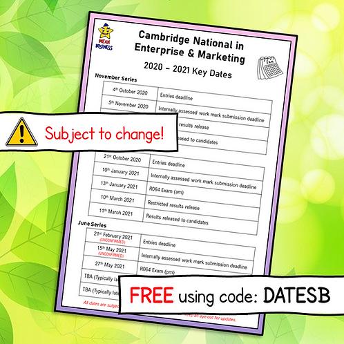 Key Dates for Enterprise & Marketing 2020 - 2021 (Free)