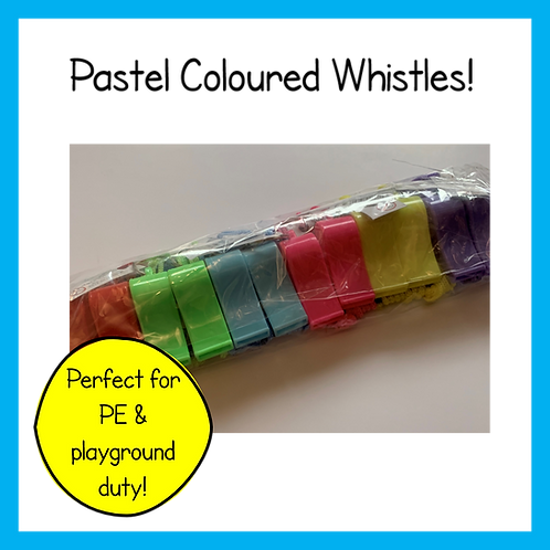 Pastel coloured plastic whistle with matching cord