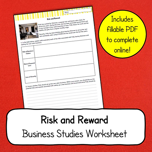 Risk and Reward Worksheet
