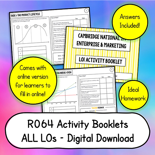 R064 LO1 - 6 Activity Booklets Bundle (Printable or Host/Complete Online)