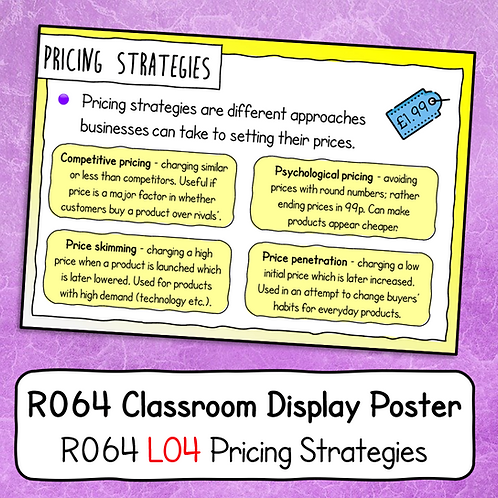 R064 LO4 - Explaining Pricing Strategies Poster / Handout