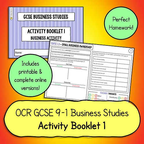 OCR GCSE Business Studies Activity Booklet 1 (Business Activity)