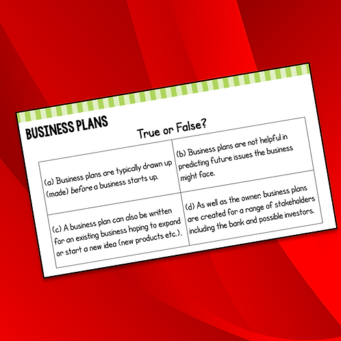 R064 LO5 Business Plans Do Now / Starter Activity