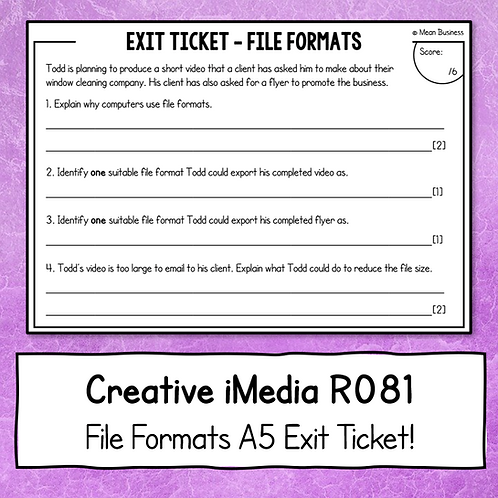 Creative iMedia File Formats A5 Exit Ticket