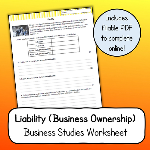 Topic 1.3 - Liability Worksheet