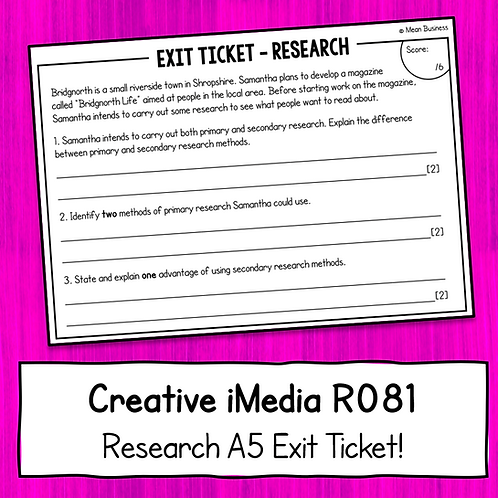Creative iMedia Research A5 Exit Ticket