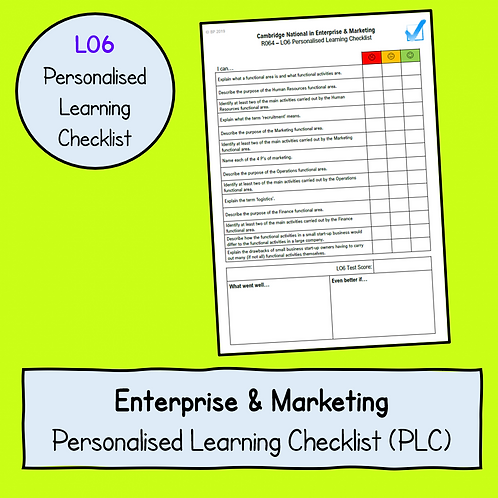 R064 LO6 Personalised Learning Checklist (PLC)