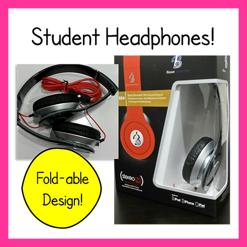 Base Booster Fold-able Red Headphones