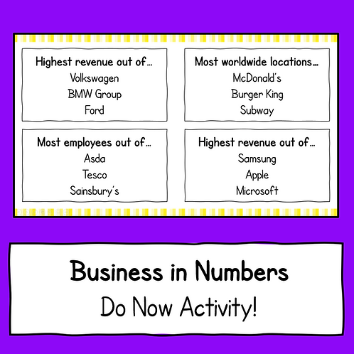 Business in Numbers Do Now Activity