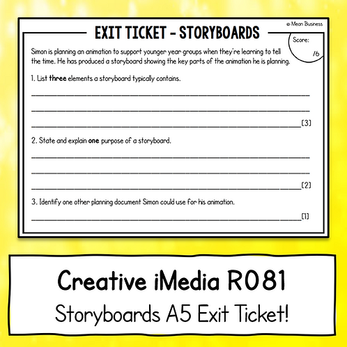 Creative iMedia Storyboards A5 Exit Ticket