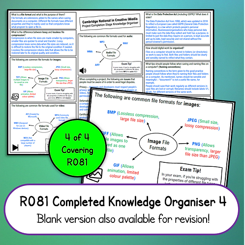 R081 Completed Knowledge Organiser 4 (Project Completion)