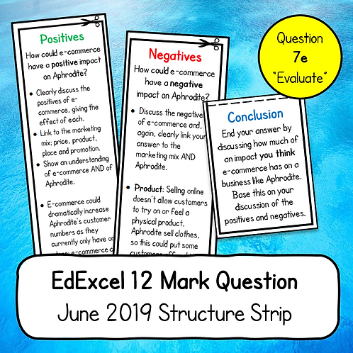 EdExcel 12 Mark Structure Strip (Business 1, June 2019, Question 7e)