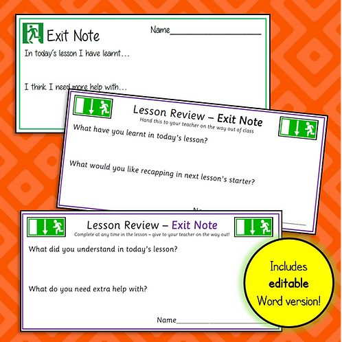 Exit Notes & Editable Template