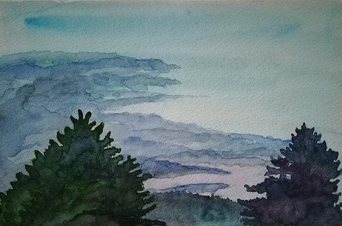 """Carte postale A5 """"Jura blue clouds"""""""