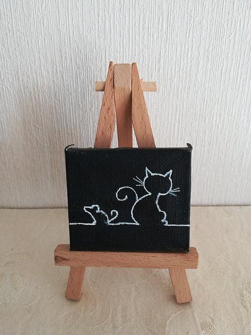 """Mini toile sur chevalet """"Cat & Mouse"""""""