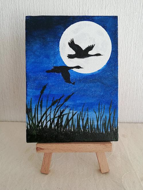 """Petite toile sur chevalet """"Soir de Lune"""""""