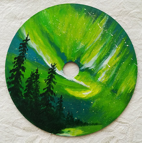 """Peinture sur CD """"Aurore boréale"""""""
