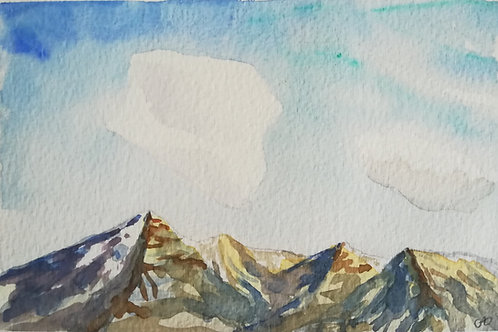 """Carte postale A6 """"Montagnes&nuages"""""""