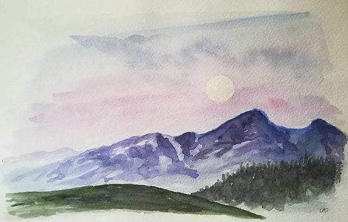 "Carte postale A5 ""Mountain & Moon"""