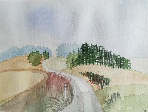 "Carte postale A6 ""Chemin champêtre"""