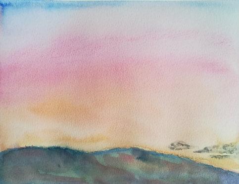"Carte postale A5 ""Mountain salmon sunset"""